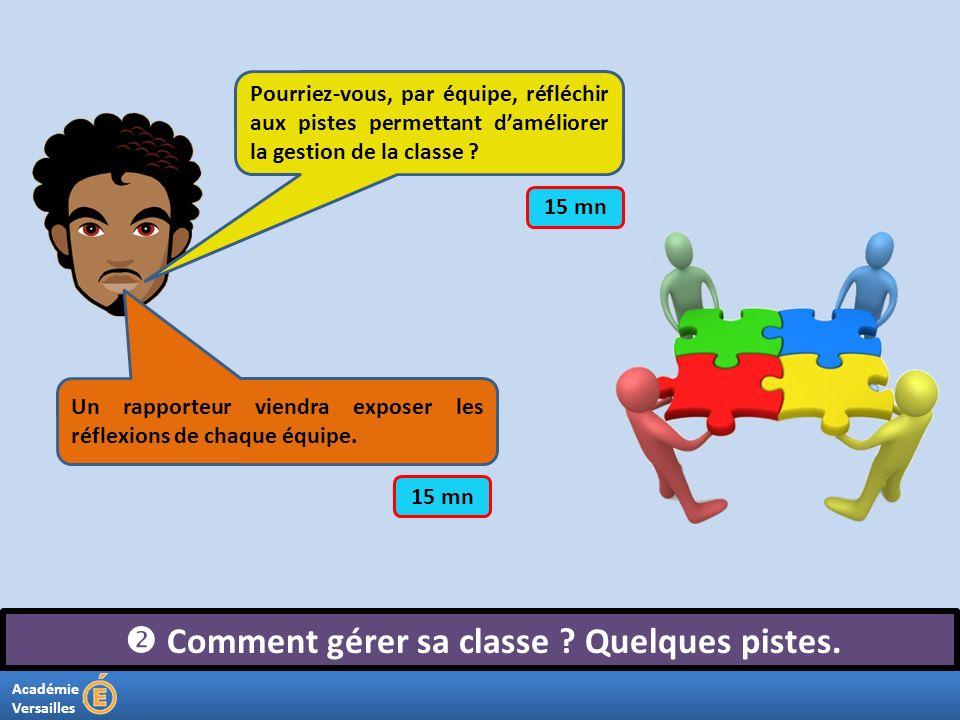 Académie Versailles Comment gérer sa classe ? Quelques pistes. Pourriez-vous, par équipe, réfléchir aux pistes permettant daméliorer la gestion de la