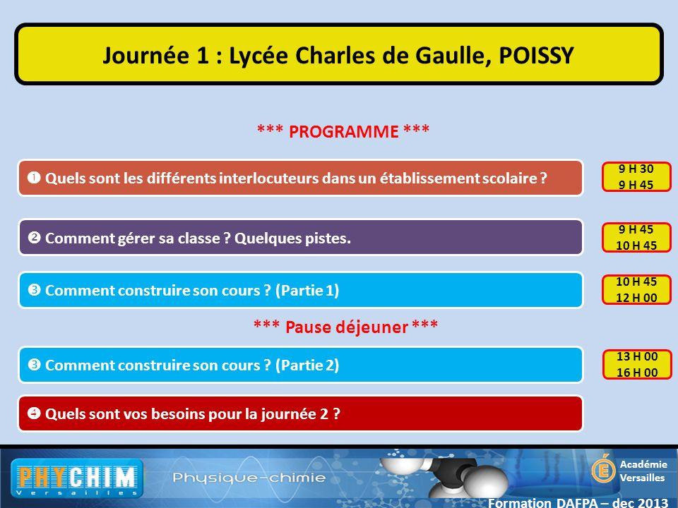 Académie Versailles Quels sont les différents interlocuteurs dans un établissement scolaire ? Journée 1 : Lycée Charles de Gaulle, POISSY Quels sont v