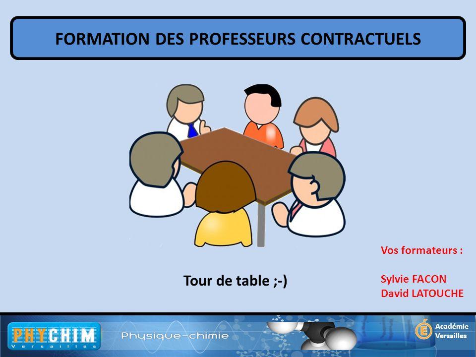 FORMATION DES PROFESSEURS CONTRACTUELS Académie Versailles Tour de table ;-) Vos formateurs : Sylvie FACON David LATOUCHE