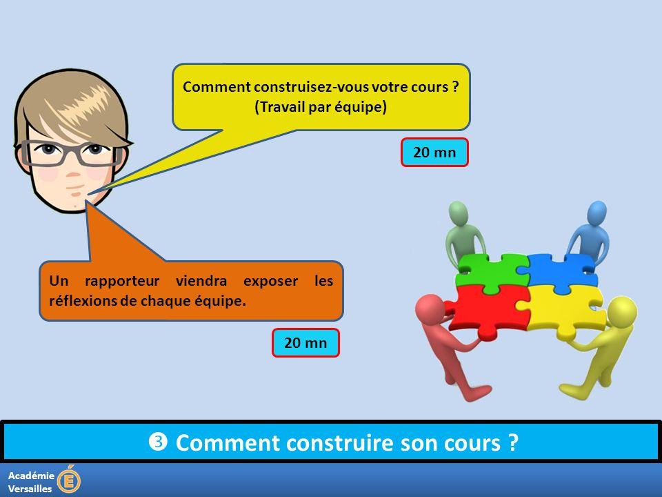Académie Versailles Comment construire son cours ? Comment construisez-vous votre cours ? (Travail par équipe) Un rapporteur viendra exposer les réfle