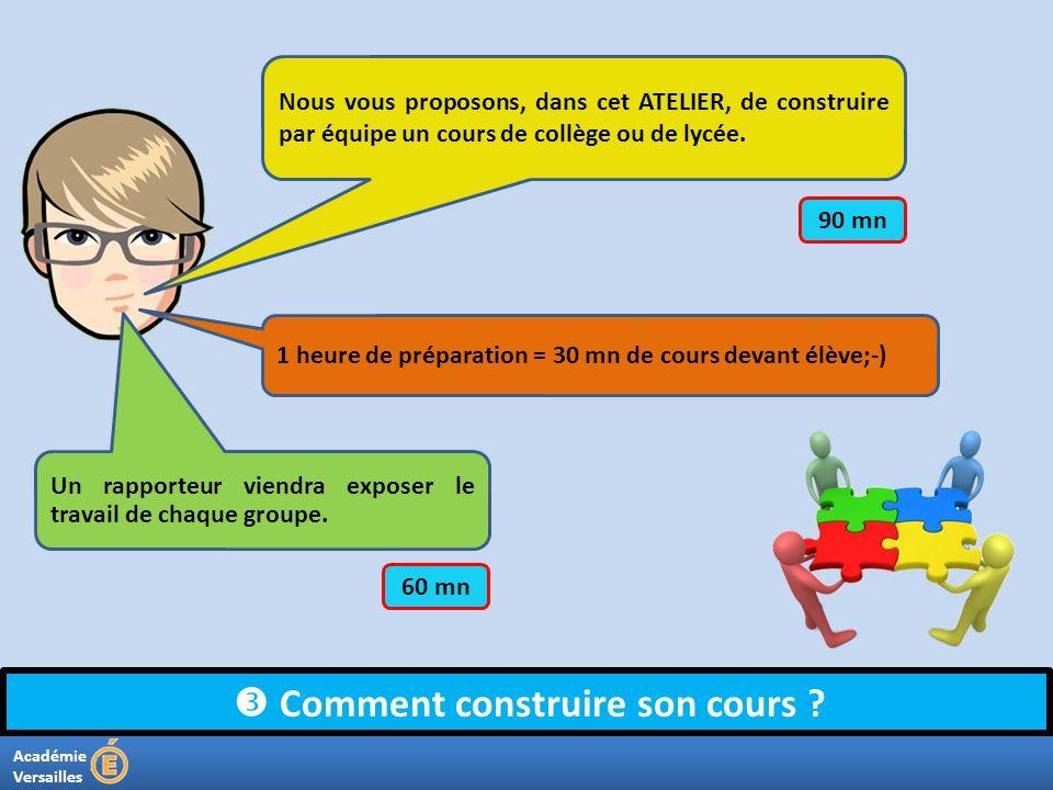 Académie Versailles Comment construire son cours ? Nous vous proposons, dans cet ATELIER, de construire par équipe un cours de collège ou de lycée. 1
