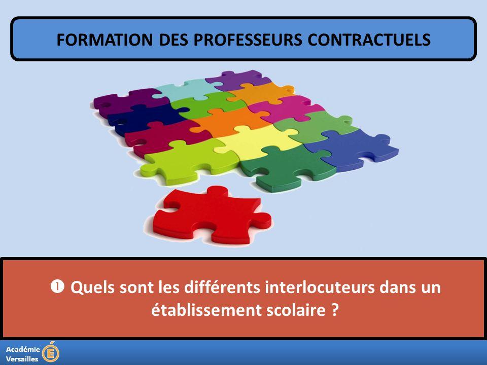 Académie Versailles Quels sont les différents interlocuteurs dans un établissement scolaire ? FORMATION DES PROFESSEURS CONTRACTUELS