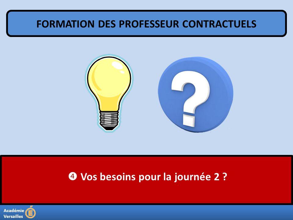 Académie Versailles Vos besoins pour la journée 2 ? FORMATION DES PROFESSEUR CONTRACTUELS