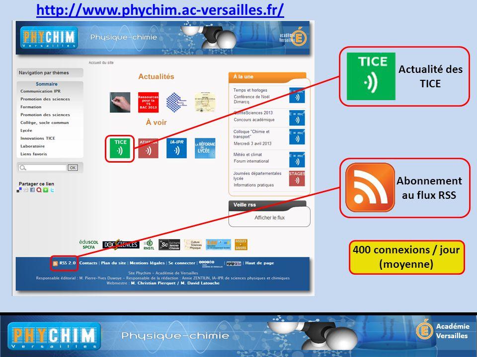 Académie Versailles http://www.phychim.ac-versailles.fr/ Actualité des TICE Abonnement au flux RSS 400 connexions / jour (moyenne)