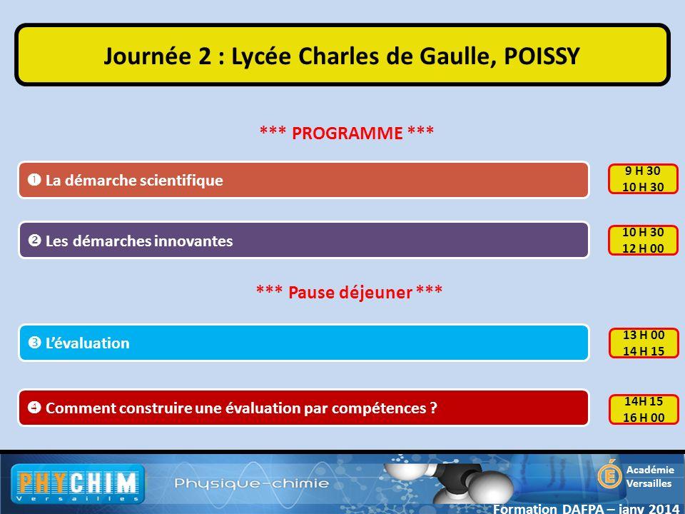 Académie Versailles La démarche scientifique Journée 2 : Lycée Charles de Gaulle, POISSY Comment construire une évaluation par compétences ? Formation