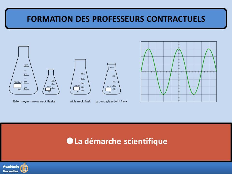 Académie Versailles La démarche scientifique FORMATION DES PROFESSEURS CONTRACTUELS