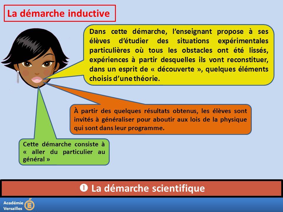 Académie Versailles La démarche scientifique Dans cette démarche, lenseignant propose à ses élèves détudier des situations expérimentales particulièr