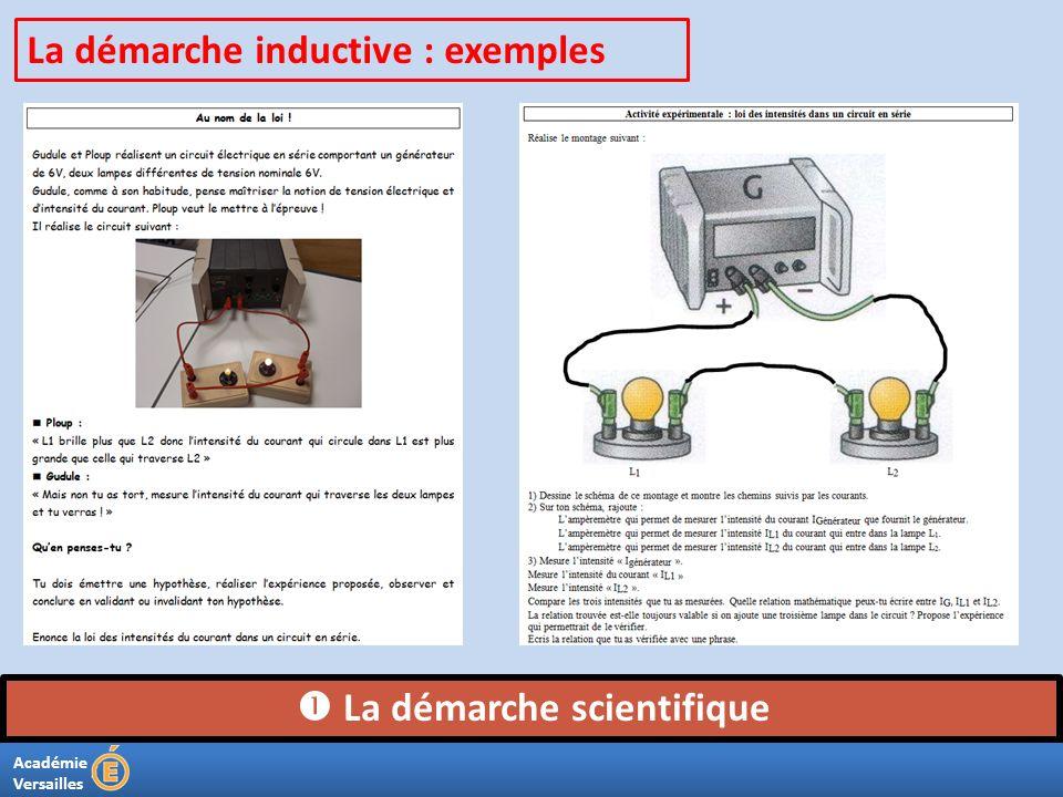 Académie Versailles La démarche scientifique La démarche inductive : exemples