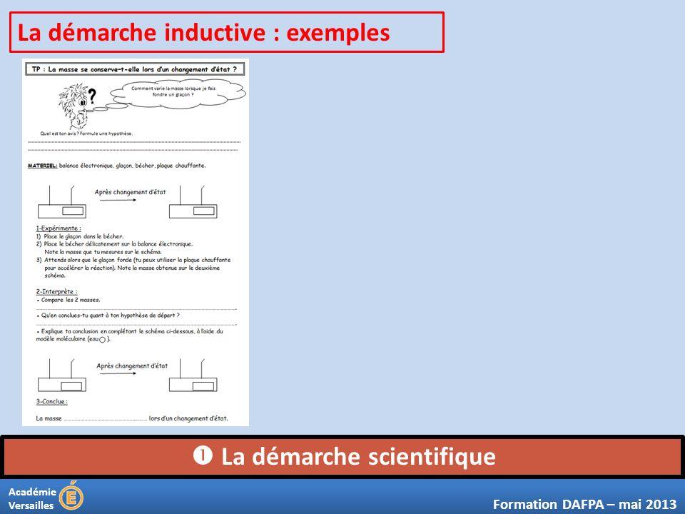 Académie Versailles La démarche scientifique Formation DAFPA – mai 2013 La démarche inductive : exemples