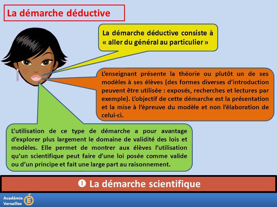 Académie Versailles La démarche scientifique La démarche déductive consiste à « aller du général au particulier » La démarche déductive Lenseignant p
