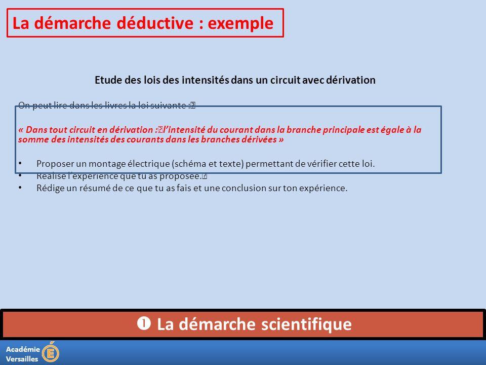 Académie Versailles La démarche scientifique La démarche déductive : exemple Etude des lois des intensités dans un circuit avec dérivation On peut lir