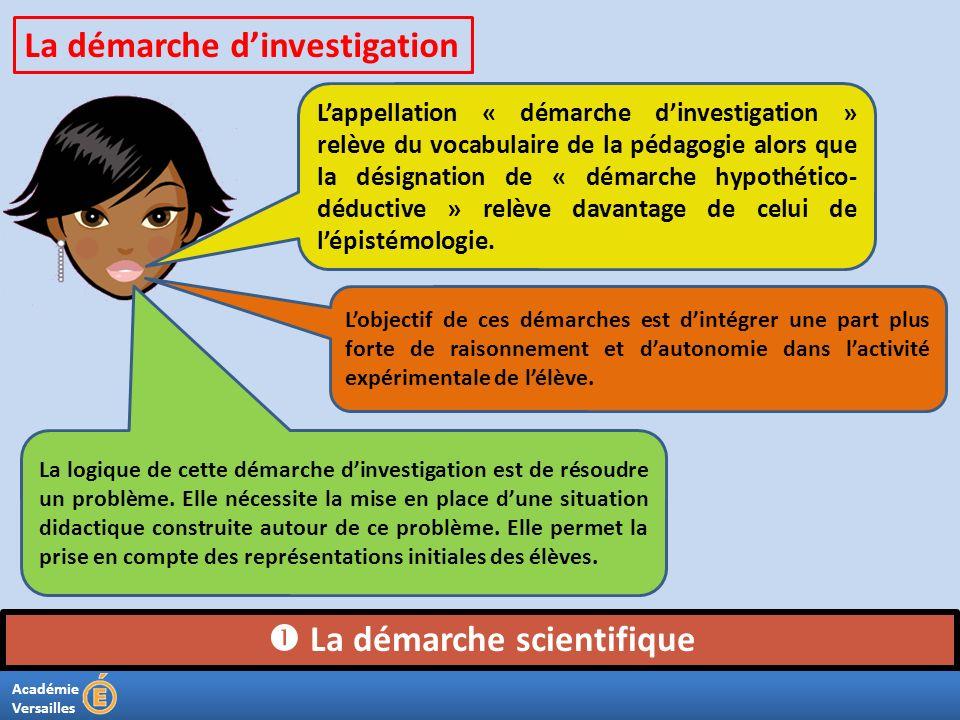 Académie Versailles La démarche scientifique Lappellation « démarche dinvestigation » relève du vocabulaire de la pédagogie alors que la désignation d