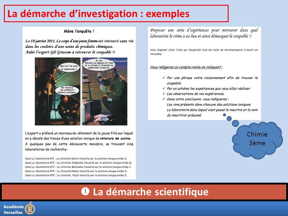 Académie Versailles La démarche scientifique La démarche dinvestigation : exemples Chimie 3ème