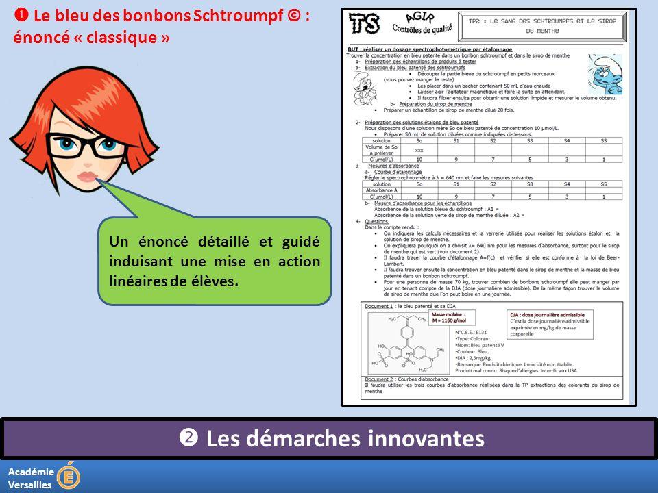 Académie Versailles Les démarches innovantes Un énoncé détaillé et guidé induisant une mise en action linéaires de élèves. Le bleu des bonbons Schtrou