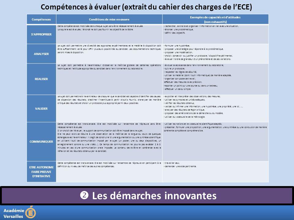 Académie Versailles Les démarches innovantes Compétences à évaluer (extrait du cahier des charges de lECE) CompétencesConditions de mise en œuvre Exem