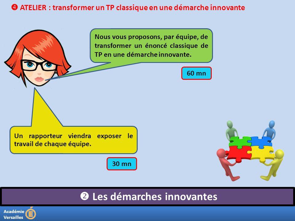 Académie Versailles Les démarches innovantes ATELIER : transformer un TP classique en une démarche innovante Nous vous proposons, par équipe, de trans