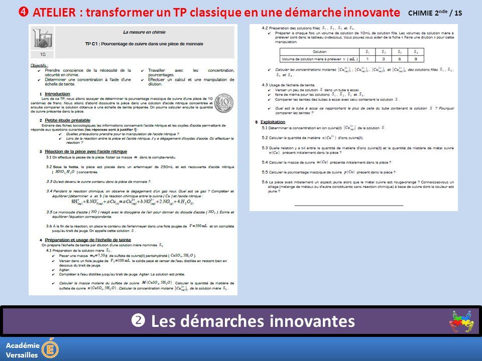 Académie Versailles Les démarches innovantes CHIMIE 2 nde / 1S