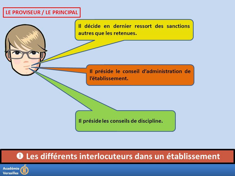 Académie Versailles Les différents interlocuteurs dans un établissement Il décide en dernier ressort des sanctions autres que les retenues. Il préside