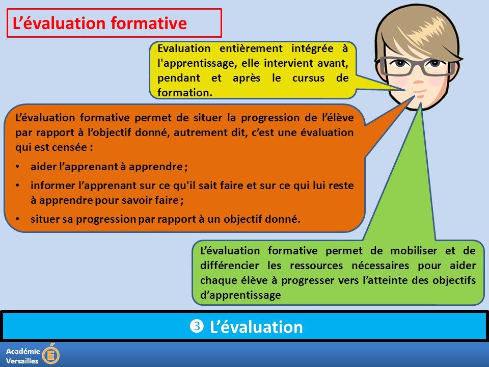 Académie Versailles Lévaluation Evaluation entièrement intégrée à l'apprentissage, elle intervient avant, pendant et après le cursus de formation. Lév