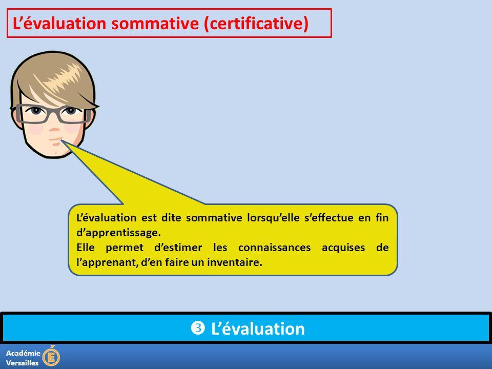 Académie Versailles Lévaluation Lévaluation est dite sommative lorsquelle seffectue en fin dapprentissage. Elle permet destimer les connaissances acqu