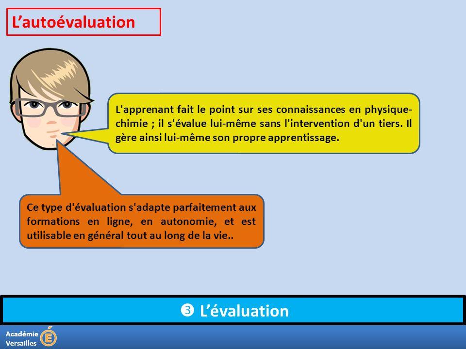 Académie Versailles Lévaluation L'apprenant fait le point sur ses connaissances en physique- chimie ; il s'évalue lui-même sans l'intervention d'un ti