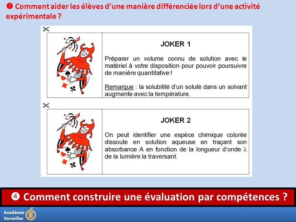 Académie Versailles Comment construire une évaluation par compétences ? Comment aider les élèves dune manière différenciée lors dune activité expérime