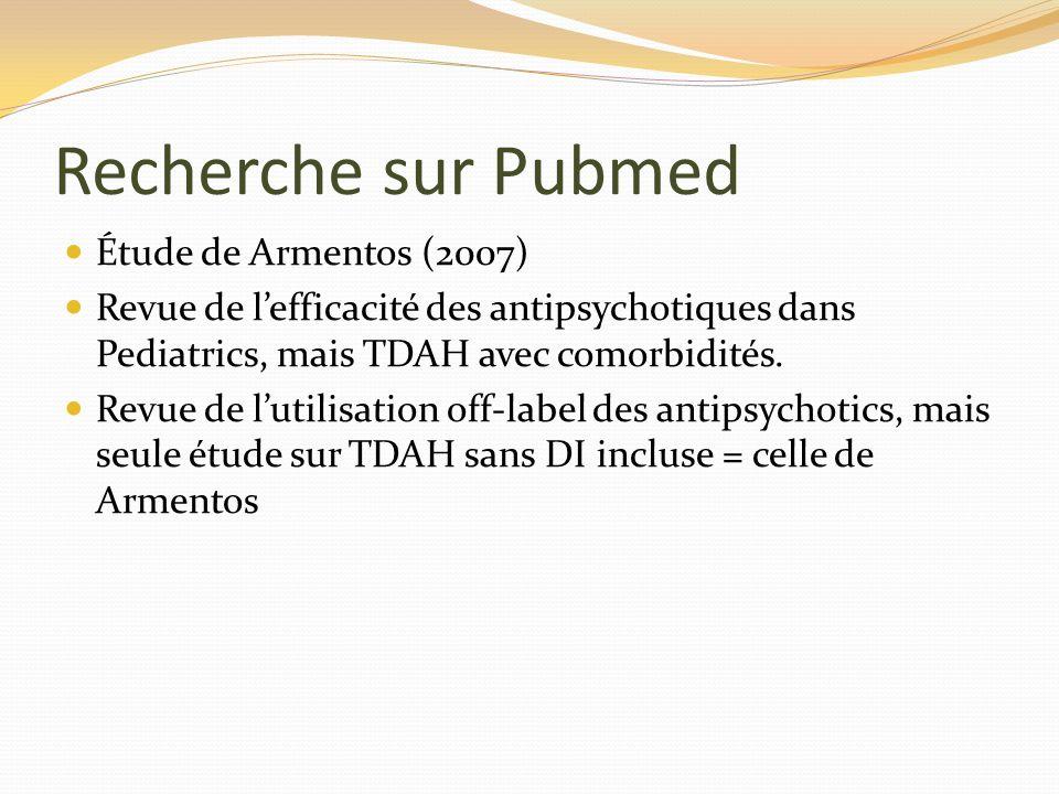 Recherche sur Pubmed Étude de Armentos (2007) Revue de lefficacité des antipsychotiques dans Pediatrics, mais TDAH avec comorbidités. Revue de lutilis