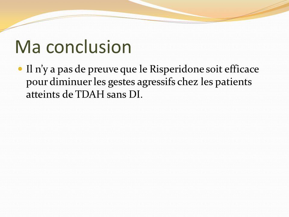 Ma conclusion Il ny a pas de preuve que le Risperidone soit efficace pour diminuer les gestes agressifs chez les patients atteints de TDAH sans DI.