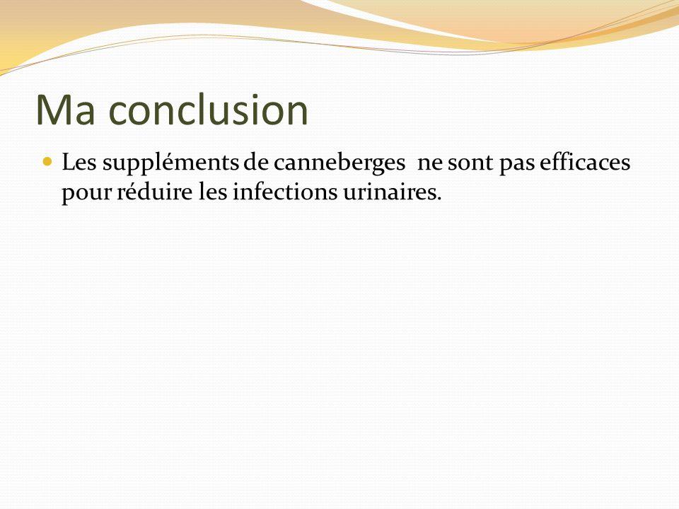 Ma conclusion Les suppléments de canneberges ne sont pas efficaces pour réduire les infections urinaires.
