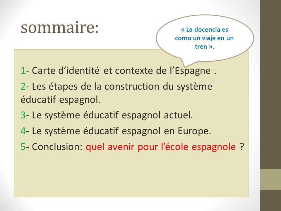 sommaire: 1- Carte didentité et contexte de lEspagne. 2- Les étapes de la construction du système éducatif espagnol. 3- Le système éducatif espagnol a