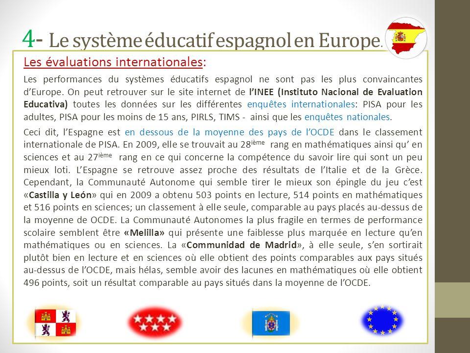 4- Le système éducatif espagnol en Europe. Les évaluations internationales: Les performances du systèmes éducatifs espagnol ne sont pas les plus conva
