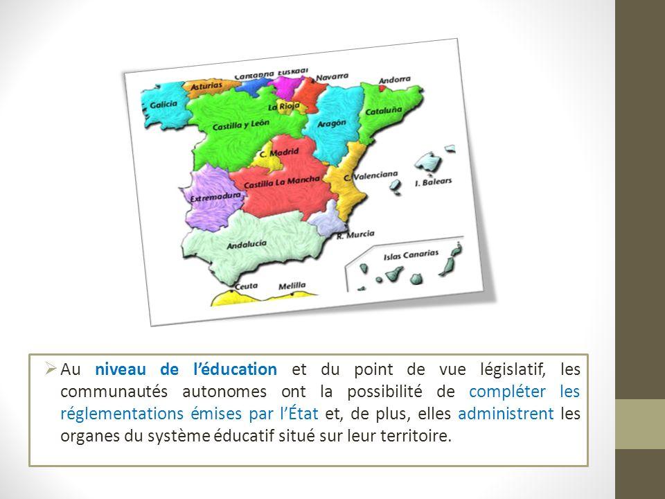 Au niveau de léducation et du point de vue législatif, les communautés autonomes ont la possibilité de compléter les réglementations émises par lÉtat