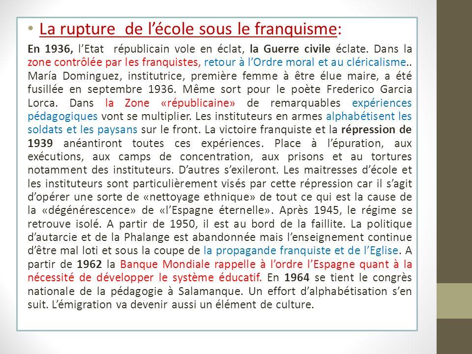 La rupture de lécole sous le franquisme: En 1936, lEtat républicain vole en éclat, la Guerre civile éclate. Dans la zone contrôlée par les franquistes