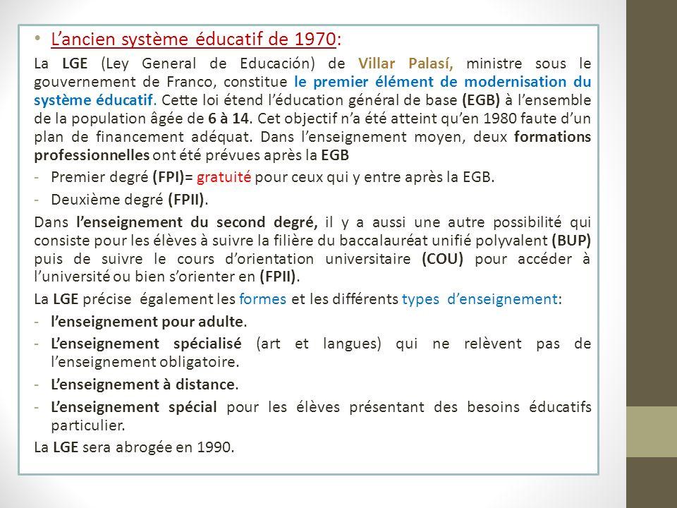 Lancien système éducatif de 1970: La LGE (Ley General de Educación) de Villar Palasí, ministre sous le gouvernement de Franco, constitue le premier él