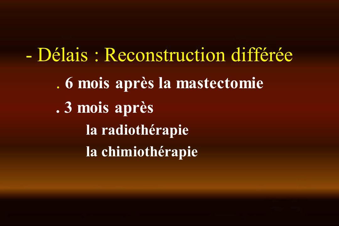 - Délais : Reconstruction différée. 6 mois après la mastectomie. 3 mois après la radiothérapie la chimiothérapie
