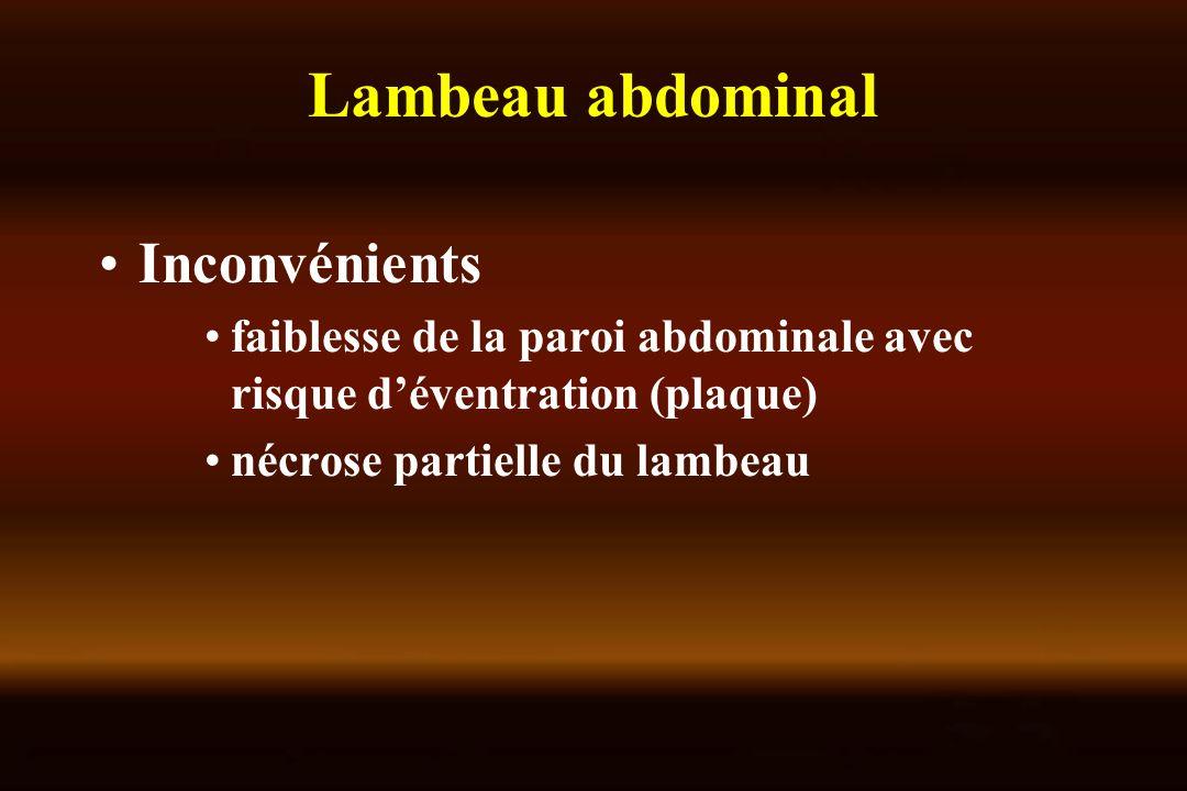 Inconvénients faiblesse de la paroi abdominale avec risque déventration (plaque) nécrose partielle du lambeau