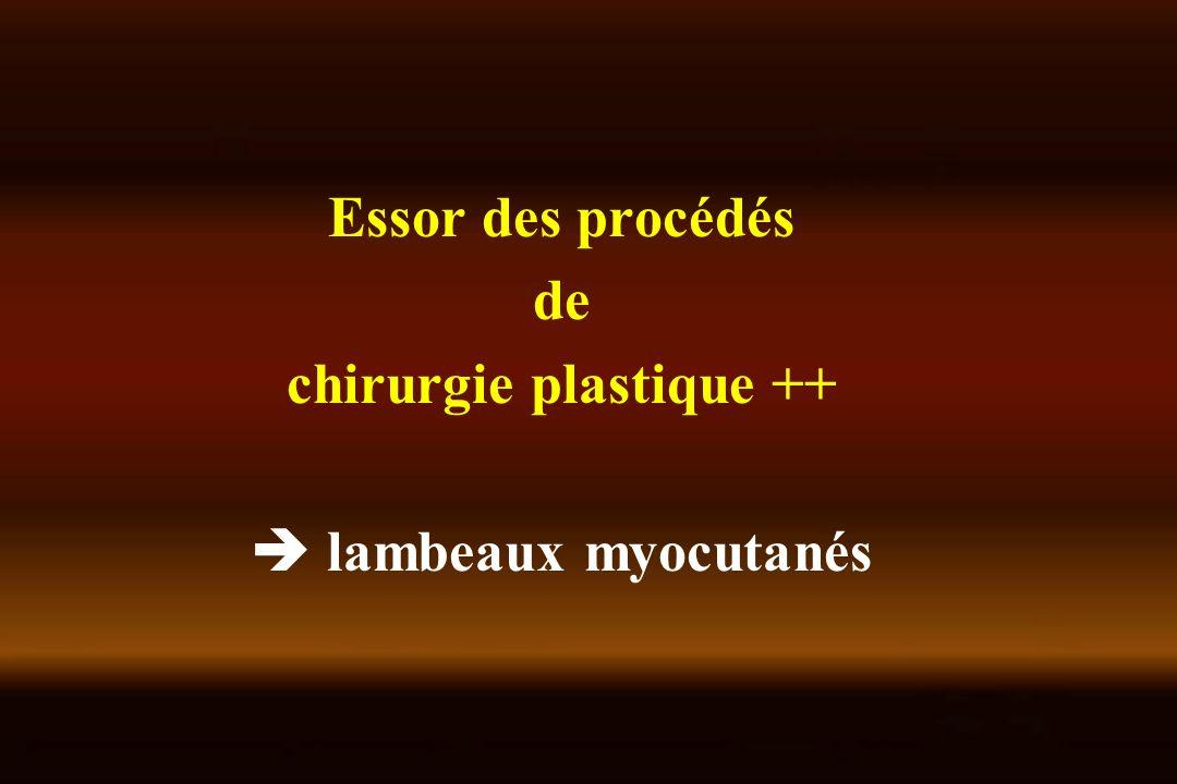 Lambeau de grand dorsal Nécessite souvent lassociation dune prothèse Cicatrice dorsale Intégrité de lartère thoraco-dorsale