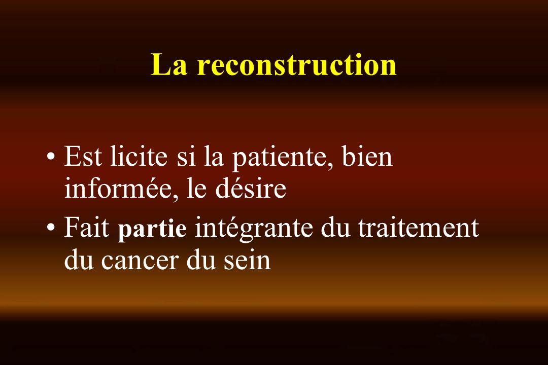 La reconstruction Est licite si la patiente, bien informée, le désire Fait partie intégrante du traitement du cancer du sein