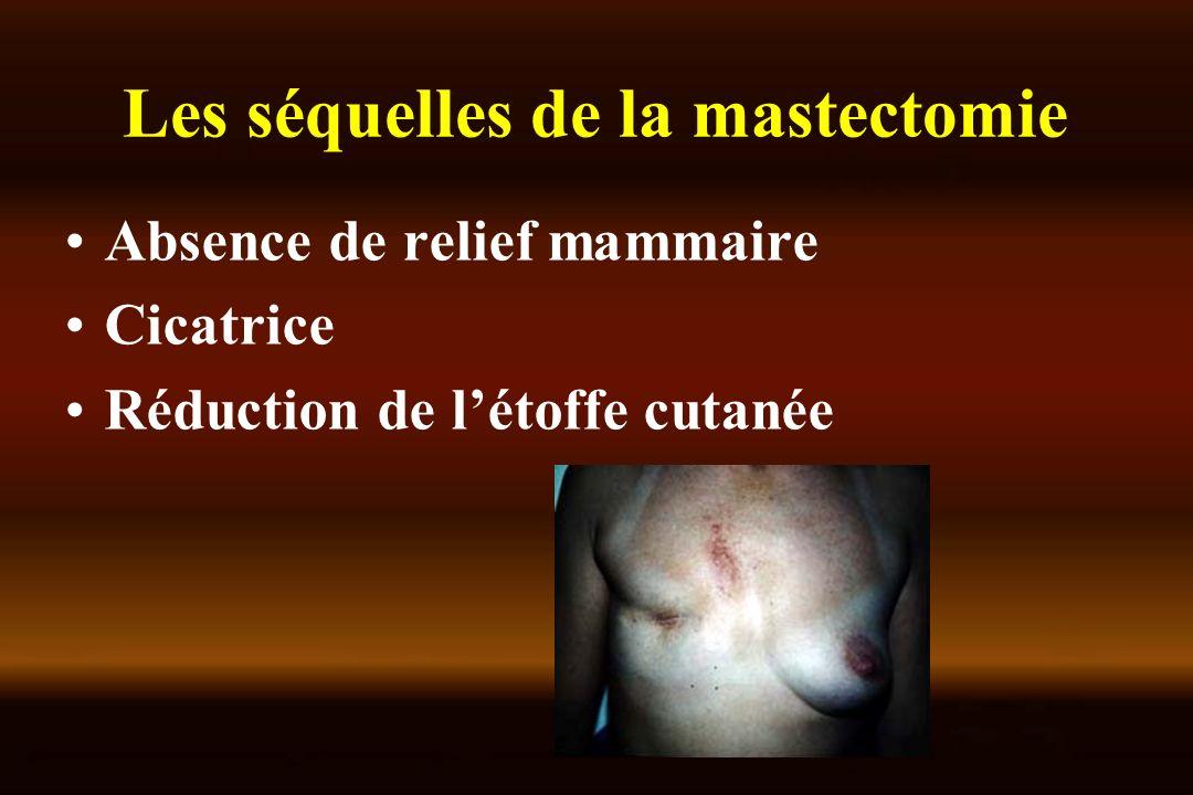 Les séquelles de la mastectomie Absence de relief mammaire Cicatrice Réduction de létoffe cutanée