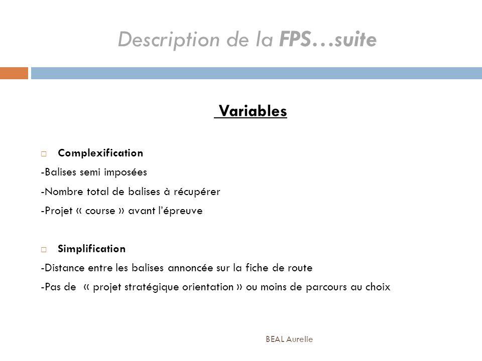 Description de la FPS…suite Variables Complexification -Balises semi imposées -Nombre total de balises à récupérer -Projet « course » avant lépreuve S