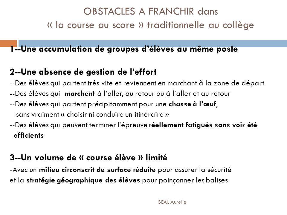 OBSTACLES A FRANCHIR dans « la course au score » traditionnelle au collège 1--Une accumulation de groupes délèves au même poste 2--Une absence de gest