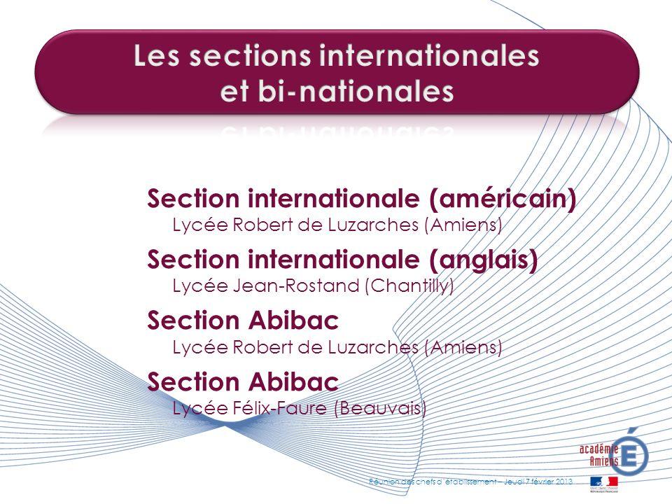 Section internationale (américain) Lycée Robert de Luzarches (Amiens) Section internationale (anglais) Lycée Jean-Rostand (Chantilly) Section Abibac L
