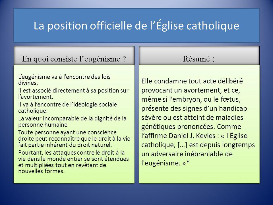 La position officielle de lÉglise catholique En quoi consiste leugénisme ? Leugénisme va à lencontre des lois divines. Il est associé directement à sa