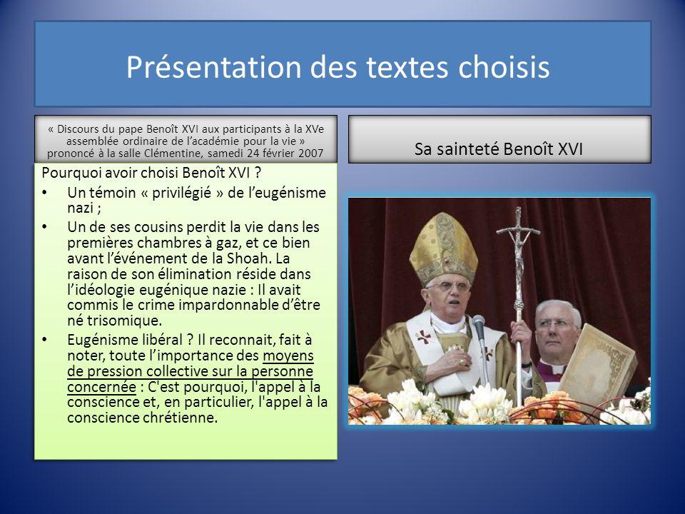 Présentation des textes choisis « Discours du pape Benoît XVI aux participants à la XVe assemblée ordinaire de lacadémie pour la vie » prononcé à la s