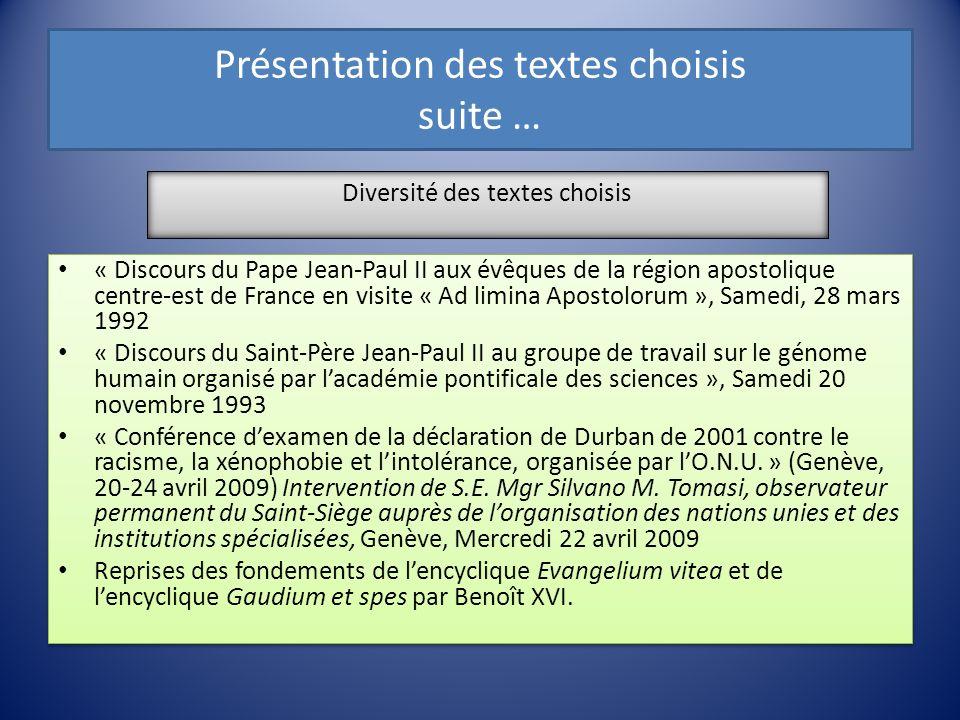 Présentation des textes choisis suite … « Discours du Pape Jean-Paul II aux évêques de la région apostolique centre-est de France en visite « Ad limin