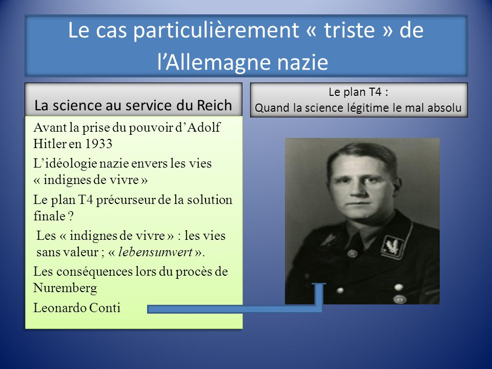 Le cas particulièrement « triste » de lAllemagne nazie La science au service du Reich Avant la prise du pouvoir dAdolf Hitler en 1933 Lidéologie nazie