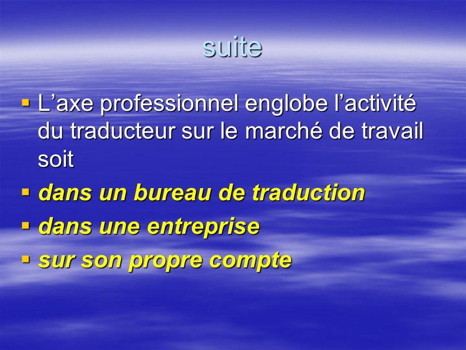 suite Laxe professionnel englobe lactivité du traducteur sur le marché de travail soit Laxe professionnel englobe lactivité du traducteur sur le march