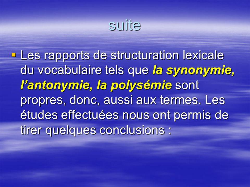 suite Les rapports de structuration lexicale du vocabulaire tels que la synonymie, lantonymie, la polysémie sont propres, donc, aussi aux termes. Les