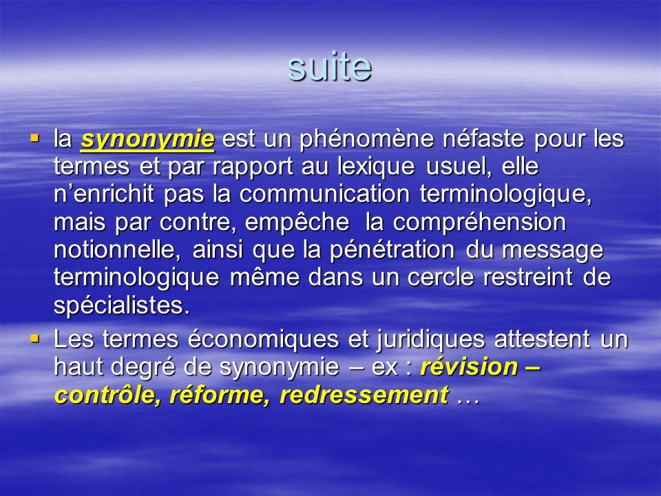 suite la synonymie est un phénomène néfaste pour les termes et par rapport au lexique usuel, elle nenrichit pas la communication terminologique, mais