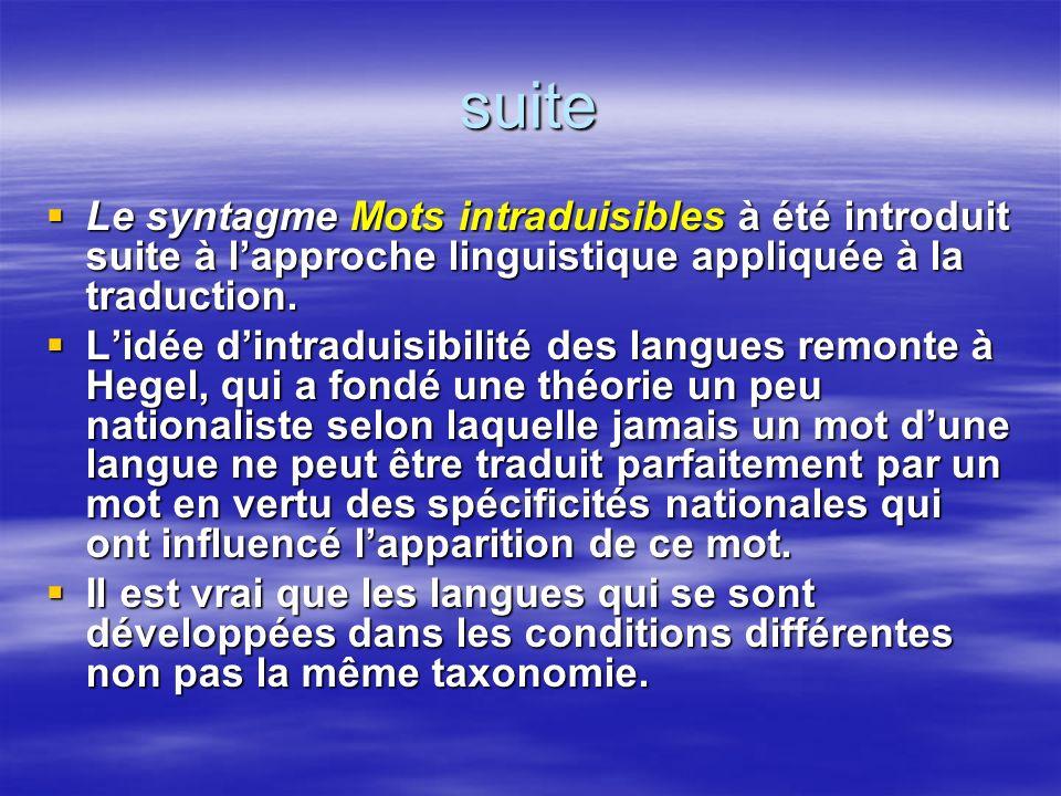 suite Le syntagme Mots intraduisibles à été introduit suite à lapproche linguistique appliquée à la traduction. Le syntagme Mots intraduisibles à été